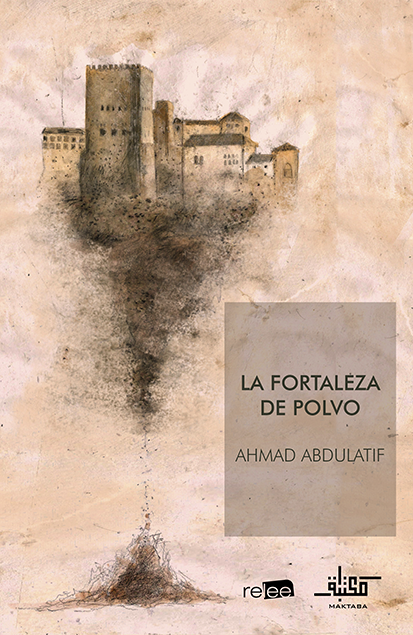 Portada de La Fortaleza de Polvo, título y dibujo a carboncillo de las murallas de Cuenca