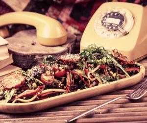 Plato de Tallarines con verduras, receta italiana