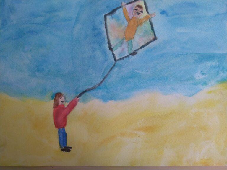 Dibujo de un niño sosteniendo una cometa, comentario del relato En el bote de J.D Salinger